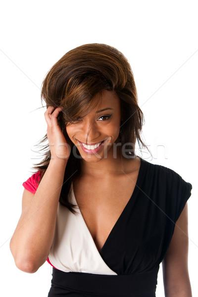 Glimlachend verlegen afrikaanse vrouw gezicht mooie afro-amerikaanse Stockfoto © phakimata