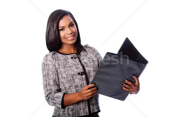красивой деловой женщины портфеля счастливым улыбаясь Сток-фото © phakimata