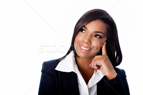 Visage belle souriant pense femme d'affaires heureux Photo stock © phakimata