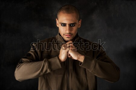 Dramatique hispanique Guy élégant africaine fort Photo stock © phakimata