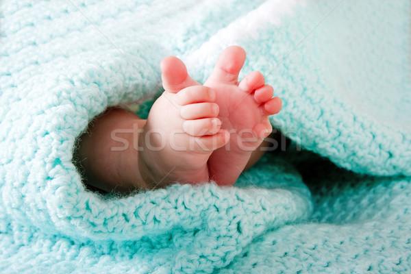 Baby feet in blanket Stock photo © phakimata