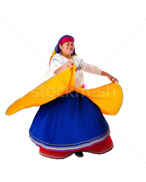 Tánc nő gyönyörű idős dél-amerika folklór Stock fotó © phakimata