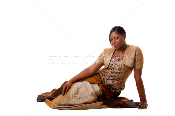 Gyönyörű afrikai nő afroamerikai barna arany Stock fotó © phakimata