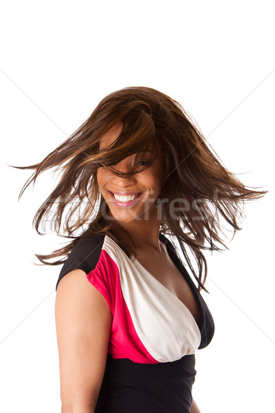 Stock photo: African business woman with swirling hair