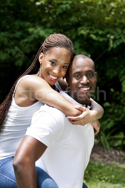 Heureux souriant africaine couple belle rire Photo stock © phakimata