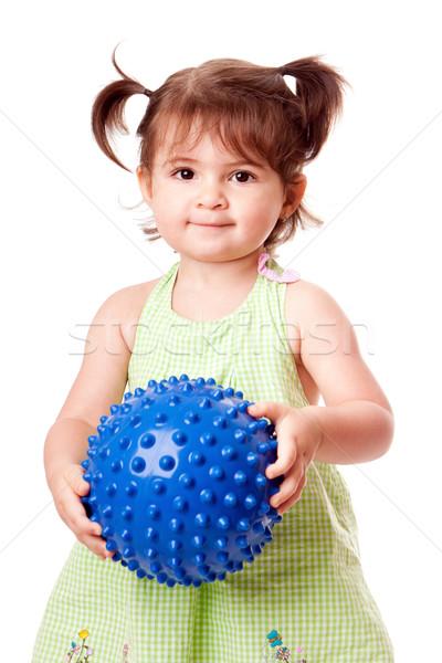 Happy toddler girl with ball Stock photo © phakimata
