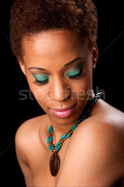 лице красивой африканских женщину афроамериканец женщины Сток-фото © phakimata