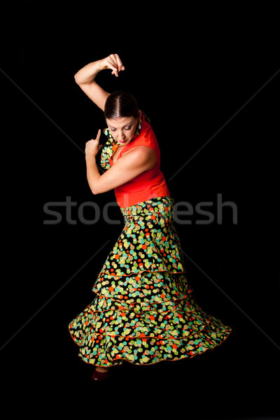Spanyol flamenco táncos gyönyörű kaukázusi visel Stock fotó © phakimata