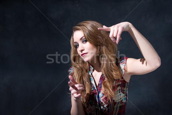 Cool рокер Деревенская девушка долго волос отношение Сток-фото © phakimata