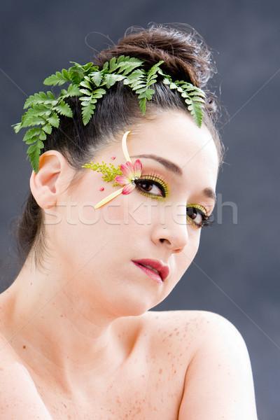 çiçek göz makyajı güzel esmer yüz pembe Stok fotoğraf © phakimata