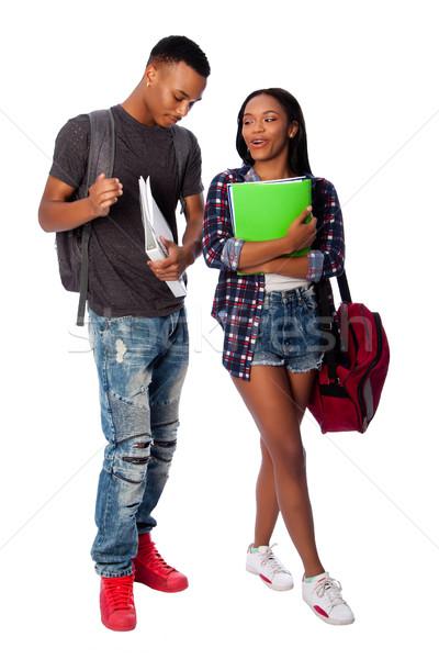 Gelukkig studenten grapje glimlachend permanente Stockfoto © phakimata