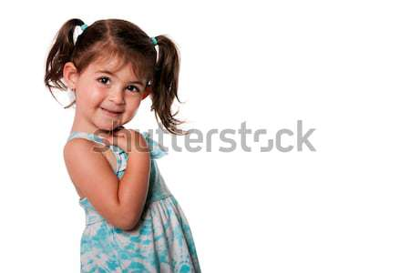 Cute toddler girl with pigtails Stock photo © phakimata