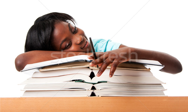 öğrenci yorgun ödev eğitim kalem Stok fotoğraf © phakimata