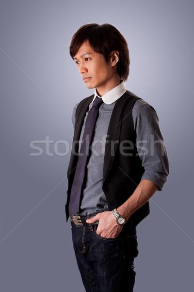 Déprimée asian homme d'affaires triste Rechercher Photo stock © phakimata