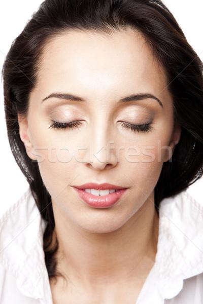 Beauté visage de femme belle heureux Photo stock © phakimata
