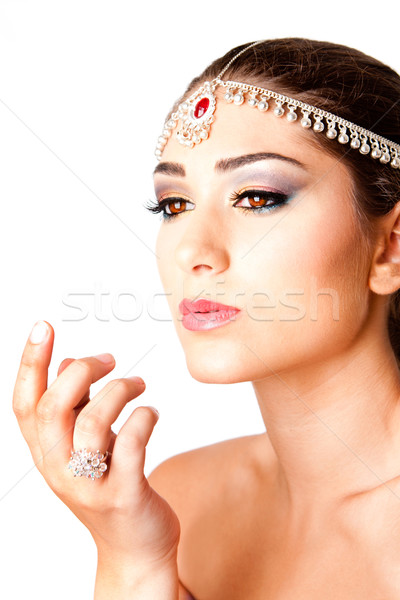 Stock photo: Hand in front of beauty Face