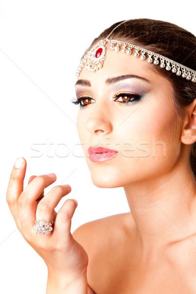 Foto stock: Mão · beleza · cara · belo · oriente · médio · egípcio