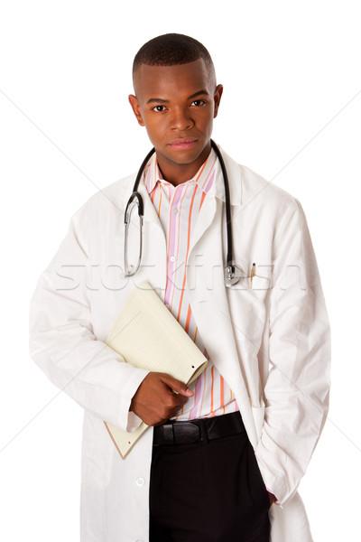Lekarza lekarz pacjenta wykres przystojny stetoskop Zdjęcia stock © phakimata