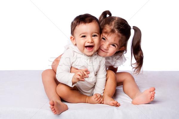 Heureux frère soeur cute Photo stock © phakimata