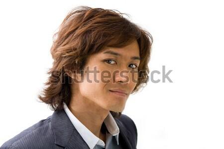 Jeunes asian homme d'affaires affaires visage gris Photo stock © phakimata
