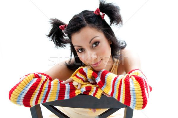 Divertimento ragazza bella luminoso colorato braccio Foto d'archivio © phakimata