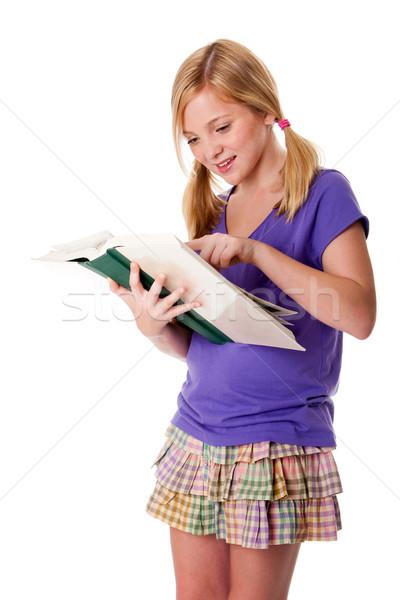 Heureux lecture apprentissage belle adolescent Photo stock © phakimata