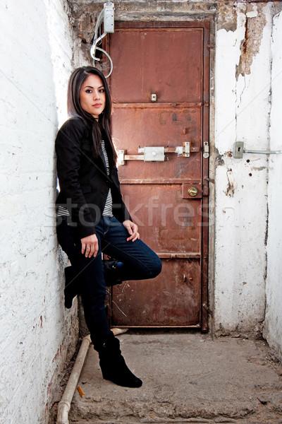 Girl in front of door Stock photo © phakimata
