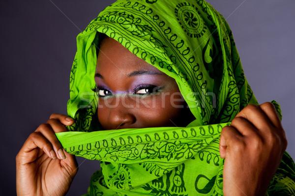 Photo stock: Africaine · femme · écharpe · visage · innocent · belle