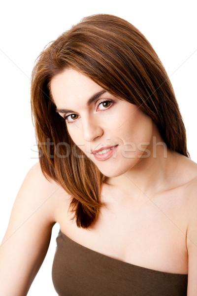 Belle Homme visage brunette taupe lèvre Photo stock © phakimata