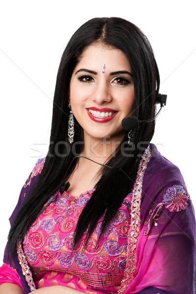 Boldog indiai ügyfélszolgálat képviselő gyönyörű üzlet Stock fotó © phakimata