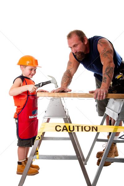 Figlio di padre falegname lavoro padre insegnamento figlio Foto d'archivio © phakimata