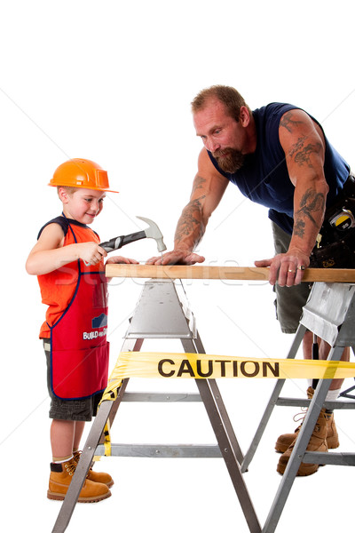 Hijo de padre carpintero Trabajo padre ensenanza hijo Foto stock © phakimata