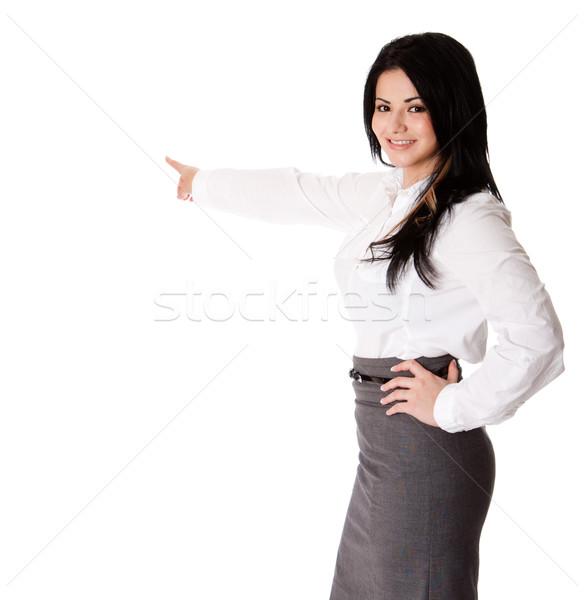 Happy business woman presentation Stock photo © phakimata