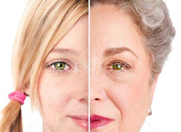 Beautiful Ageing face eyes Stock photo © phakimata