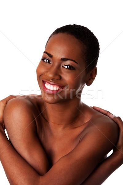 Liebe selbst glücklich lächelnde Frau lächelnd schönen Stock foto © phakimata