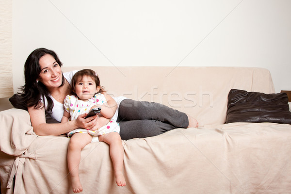 Mother and daughter watching TV Stock photo © phakimata
