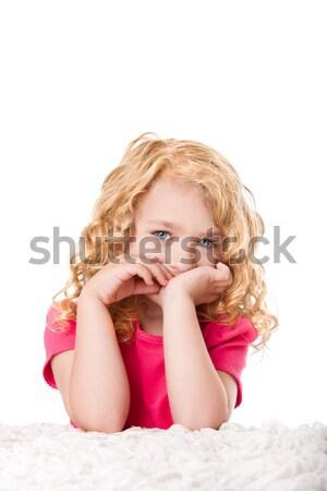 Sevimli kız portre güzel genç kız kıvırcık saçlı Stok fotoğraf © phakimata