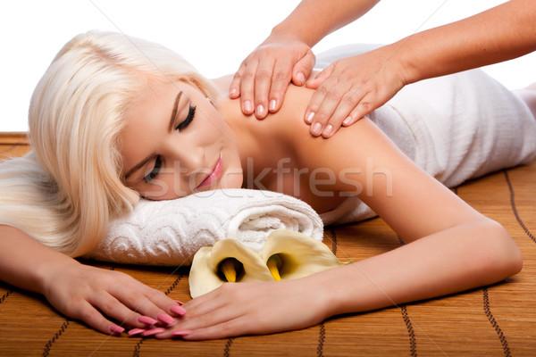 Pihenés váll masszázs fürdő gyönyörű fiatal nő Stock fotó © phakimata