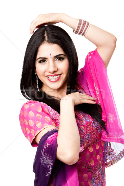 Happy smiling Indian Hindu woman Stock photo © phakimata