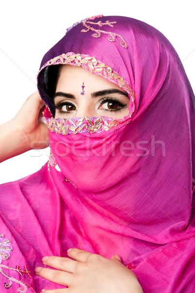 индийской женщину головной платок красивой красочный Сток-фото © phakimata