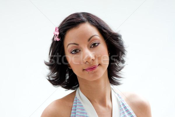 Belle visage femme cheveux noirs lèvre Photo stock © phakimata