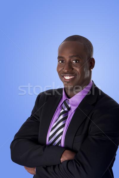 Stock fotó: Boldog · mosolyog · afroamerikai · üzletember · jóképű · vállalati