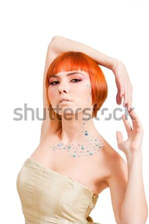 Vörös hajú nő gyönyörű kaukázusi lány karok körül Stock fotó © phakimata