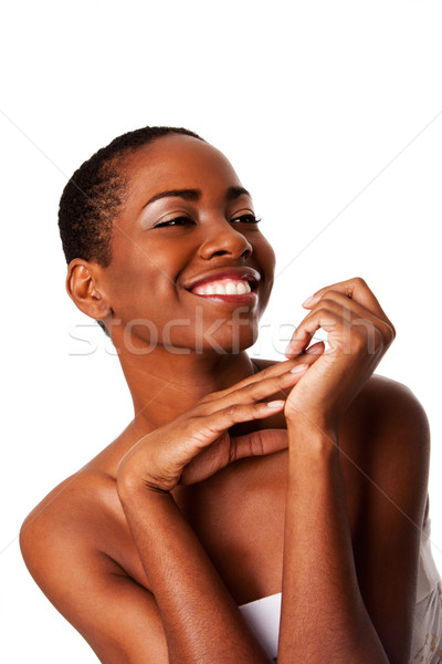 Beautiful happy smiling inspiring African woman Stock photo © phakimata