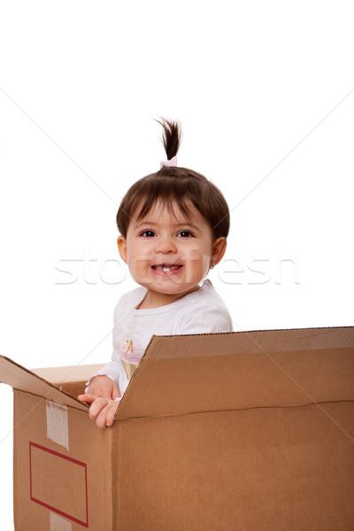 Heureux bébé déplacement boîte brun Photo stock © phakimata