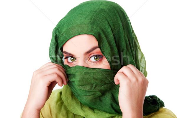 顔 緑の目 スカーフ 肖像 神秘的な 美しい ストックフォト © phakimata