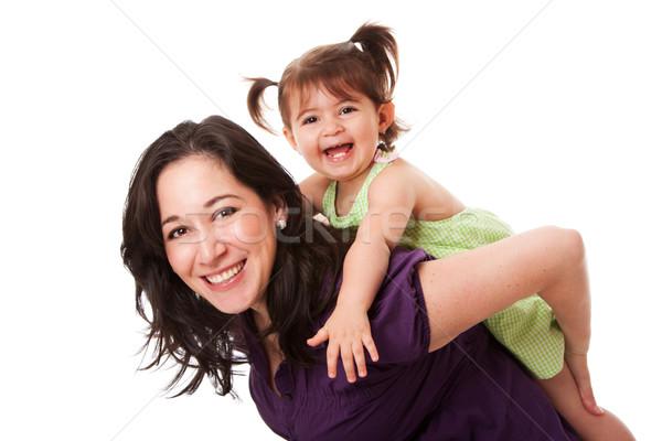 Diversão piggyback feliz risonho criança menina Foto stock © phakimata