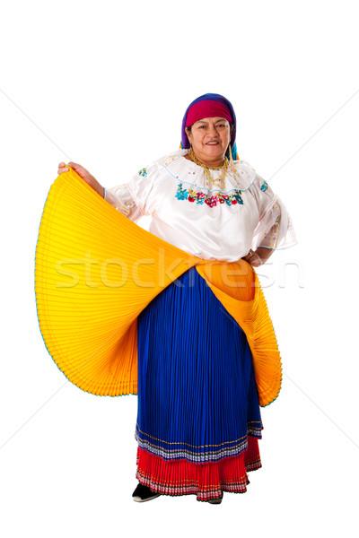 Nő gyönyörű idős dél-amerika folklór ruházat Stock fotó © phakimata