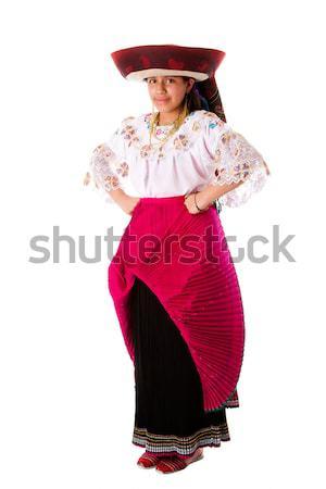 Gyönyörű indiai lány boldog Ecuador Peru Stock fotó © phakimata