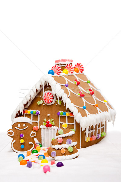 Winter vakantie peperkoek huis man kerstboom Stockfoto © phakimata